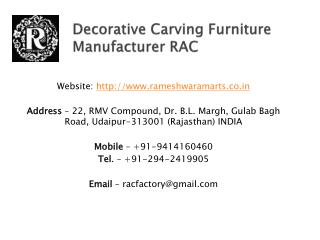 Decorative Carving Furniture Manufacturer RAC
