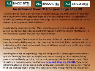 An Unbiased View Of free new bingo sites UK
