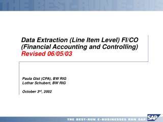 Data Extraction (Line Item Level) FI/CO (Financial Accounting and Controlling) Revised 06/05/03