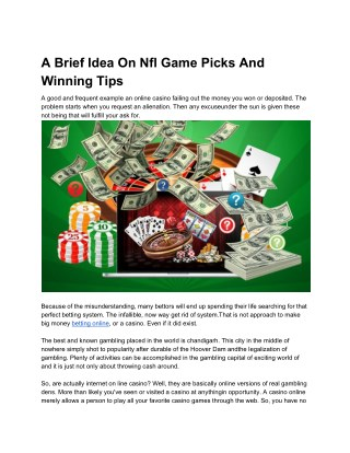 A Brief Idea On Nfl Game Picks And Winning Tips