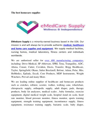 The best homecare supplies