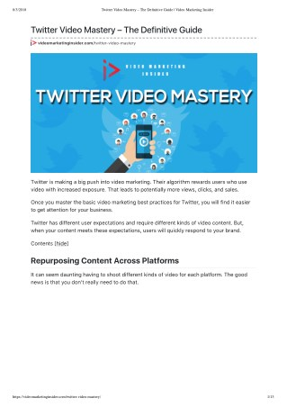 Twitter Video Mastery – The Definitive Guide