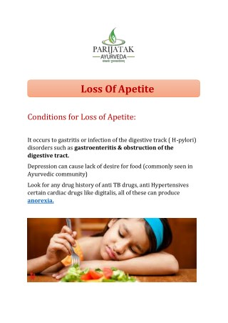 Loss of Apetite treatment in India from top ayurveda doctor