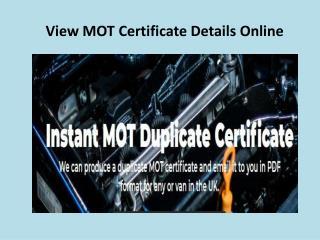 View MOT Certificate Details Online