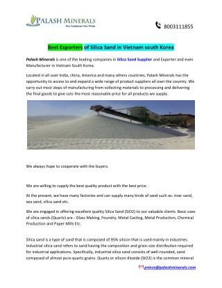 Best Exporters of Silica Sand in Vietnam south Korea