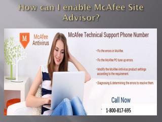 How can I enable McAfee Site Advisor
