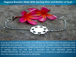 Elegance Bracelet: Made With Sterling Silver and Mother of Pearl