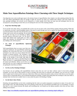Make Your Aquarellfarben Paintings More Charming with These Simple Techniques