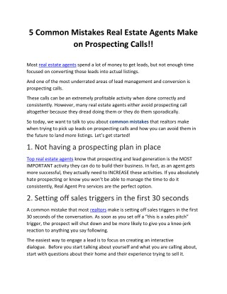 5 Common Mistakes Real Estate Agents Make on Prospecting Calls!!