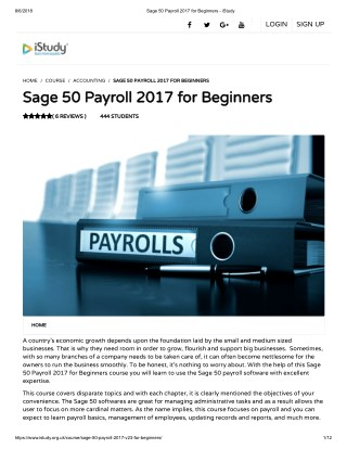 Sage 50 Payroll 2017 for Beginners
