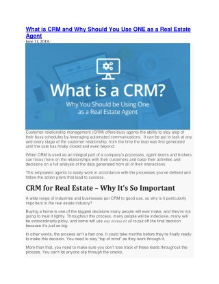 What is CRM and Why Should You Use ONE as a Real Estate Agent