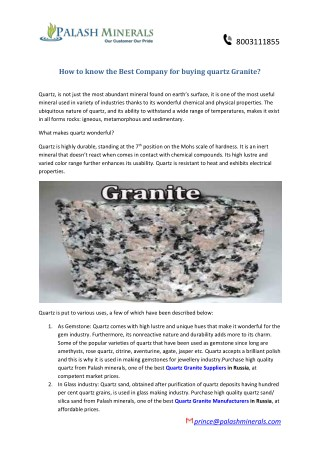 How to know the Best Company for buying quartz Granite