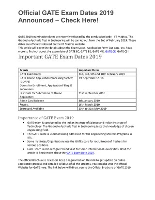 Official GATE Exam Dates 2019 Announced – Check Here!