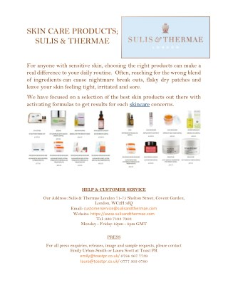 Skin Care Products | Skincare | Sulis & Thermae