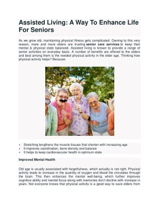 A Way To Enhance Life For Seniors
