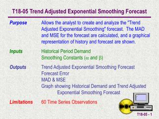 T18-05 Trend Adjusted Exponential Smoothing Forecast