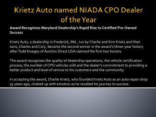 Krietz Auto named NIADA CPO Dealer of the Year