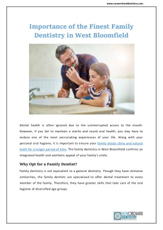 Importance of the Finest Family Dentistry in West Bloomfield | New Orchard Dentistry