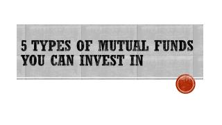 5 Types of Mutual Fund you can Invest in