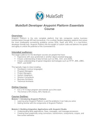 SV Trainings Mulesoft Online Training Demo Session – Mule ESB Training