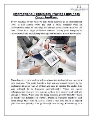International Franchises Provides Business Opportunities