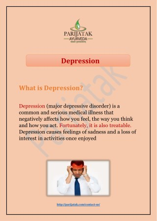 Get the best depression treatment in India from top ayurveda doctor