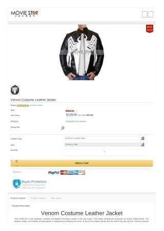 Venom Costume Leather Jacket