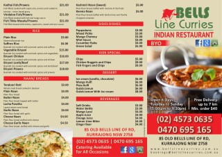 Indian restaurant menu | Bells Line Curries