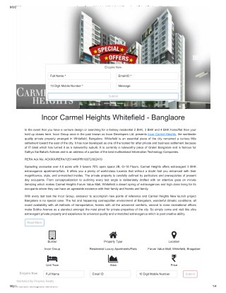 Incor Carmel Heights WhiteField | 2/3/4 BHK Homes Price | Bangalore