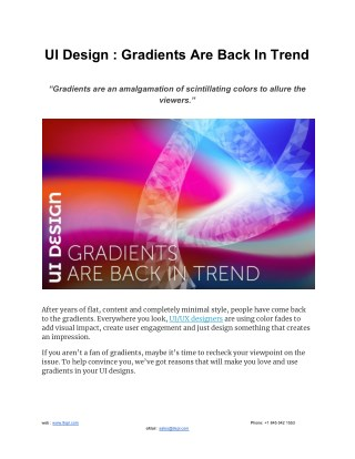 UI Design : Gradients Are Back In Trend