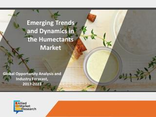 Humectants Market Expected to Reach $29,500 Million, Globally, by 2023