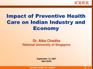 Impact of Preventive Health Care on Indian Industry and Economy