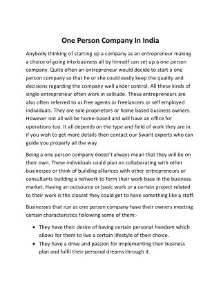 One Person Company In India