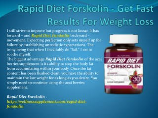 Rapid Diet Forskolin - It's Easy To Use