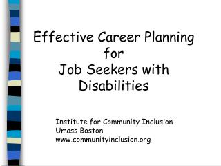 Effective Career Planning  for  Job Seekers with Disabilities