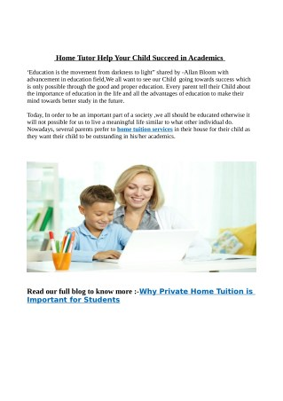 Home Tutor Help Your Child Succeed in Academics