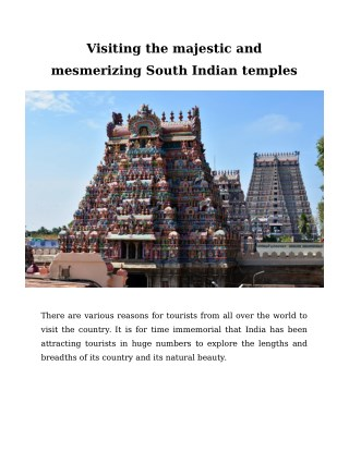 Visiting the majestic and mesmerizing South Indian temples