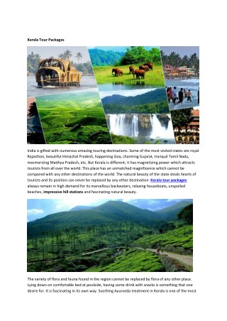 Kerala tour packages, kerala Holiday Packages, kerala travel packages