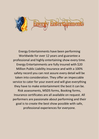 Fire Performance - Energy Entertainment