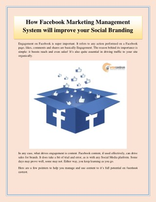 How Facebook Marketing Management System will improve your Social Branding