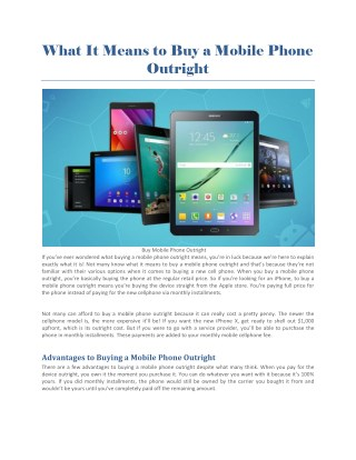 Buy Mobile Phone Outright