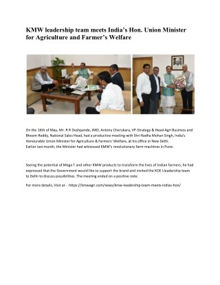 KMW leadership team meets India's Hon. Union Minister for Agriculture and Farmer's Welfare - KMW Agri