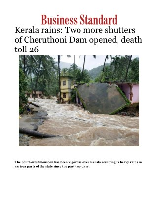 Kerala rains: Two more shutters of Cheruthoni Dam opened, death toll 26