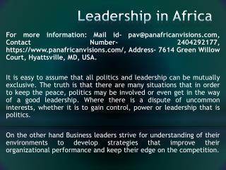 Leadership in Africa
