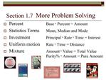 Section 1.7  More Problem Solving