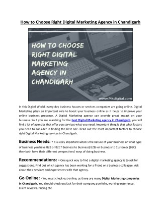 How to Choose Right Digital Marketing Agency in Chandigarh
