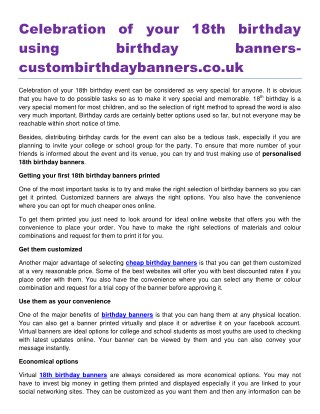 Celebration of your 18th birthday using birthday banners custombirthdaybanners.co.uk