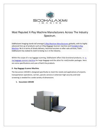 Most Reputed X-Ray Machine Manufacturers Across The Industry Spectrum.