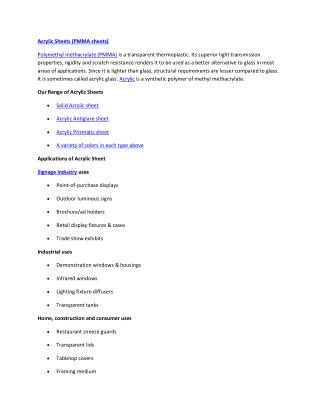 PMAA Sheets