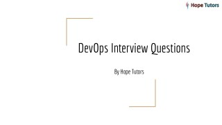 DevOps Interview Question and Answers